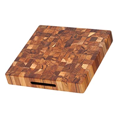 Cutting Board - Square Butcher Block With Hand Grips (12 x 12 x 2 in.) - By Teakhaus