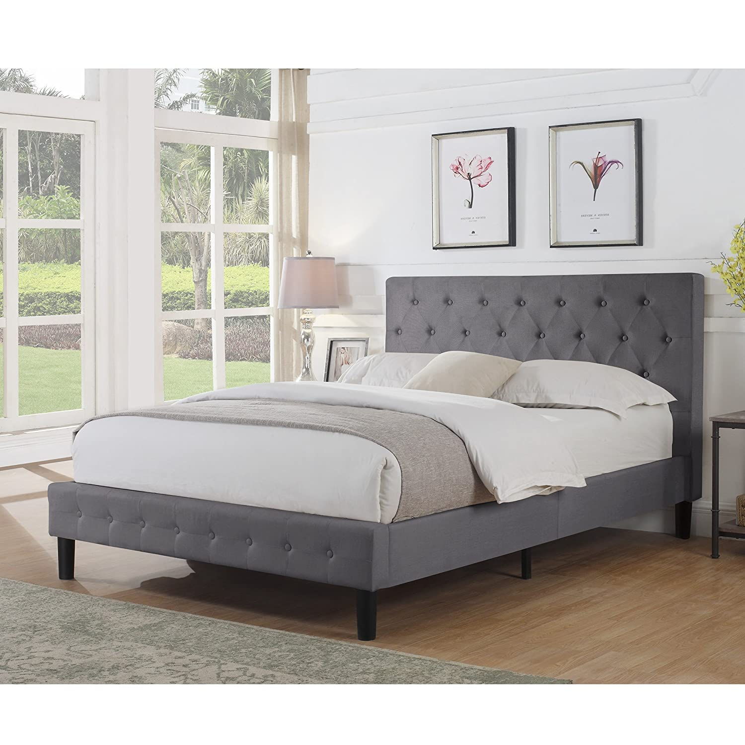Rosevera Diamond Upholstered Platform Bed, Queen, Grey