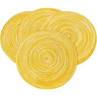 PEKING Round Placemats Set of 4, Cotton Woven Placemat Heat-Resistant Non-Slip Washable Table Mats for Dining Table 15…