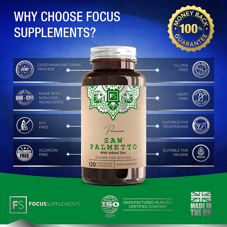 FS Saw Palmetto Pastillas Para la salud de la Próstata y Pelo - Extracto 5: 1 [3000 mg] con zinc   120 Cápsulas Veganas   Serenoa Repens para la Salud ...
