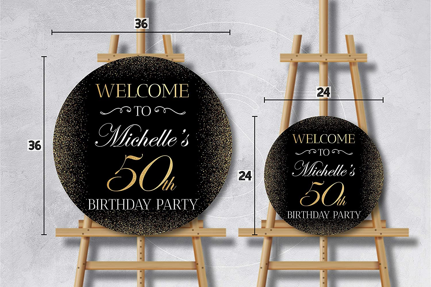40th Party Supplies Black Gold Sign 50 Years Birthday 24x24 Custom Fifty Banner 50th Birthday Party Decoration 30th 20th Sign Personalized Poster 50th Anniversary Circle Welcome Sign; 36x36