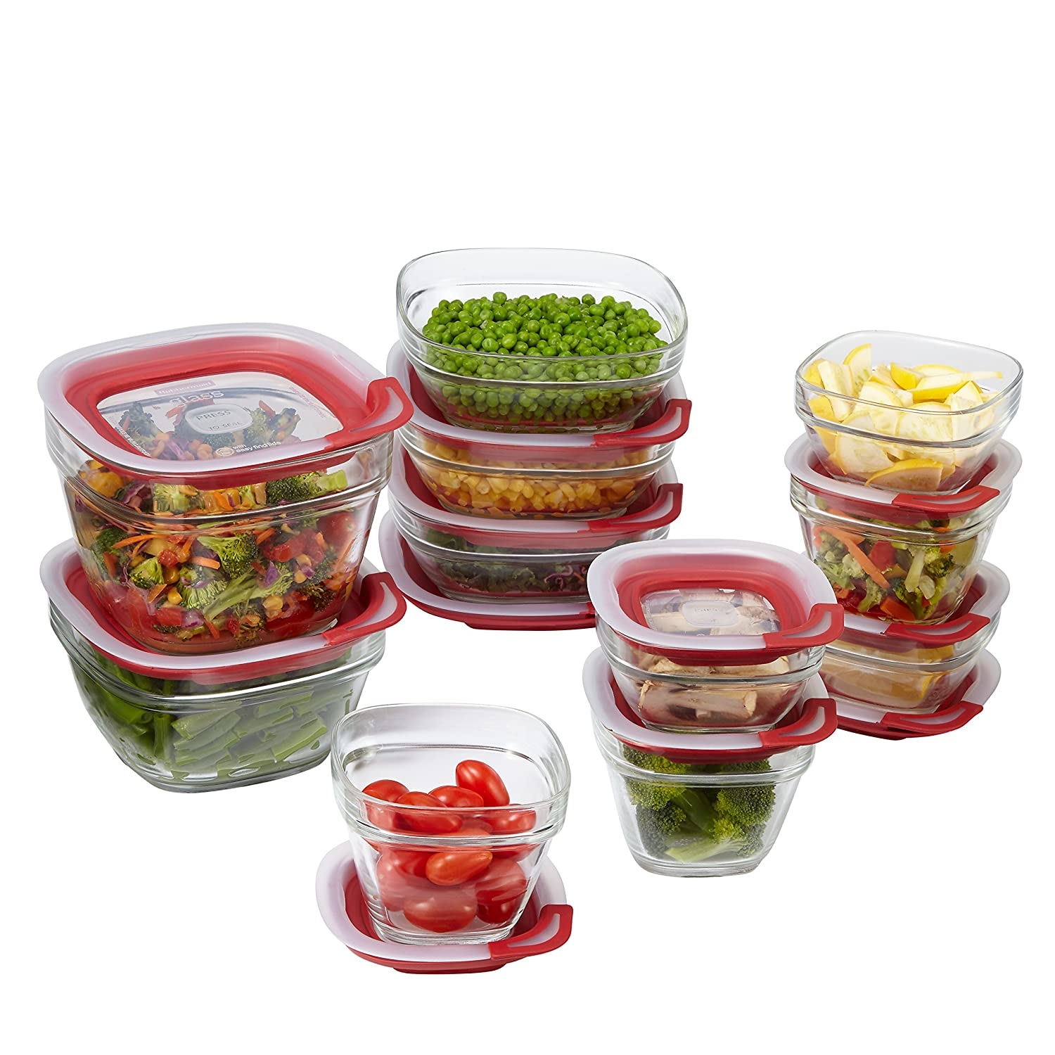 Rubbermaid Easy Find Lids Glass Food Storage Container, 22-piece Set, Red