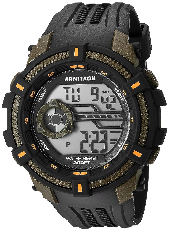 Armitron Sport Men 's 40 / 8384ogn Olive Green Accented Digitalクロノグラフブラック樹脂ストラップウォッチ B01ICTDSIG