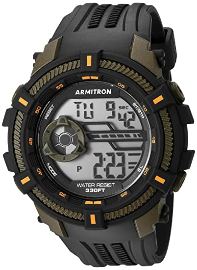 Armitron Sport Mens 40/8384OGN Olive Green Accented Digital Chronograph Black Resin Strap Watch