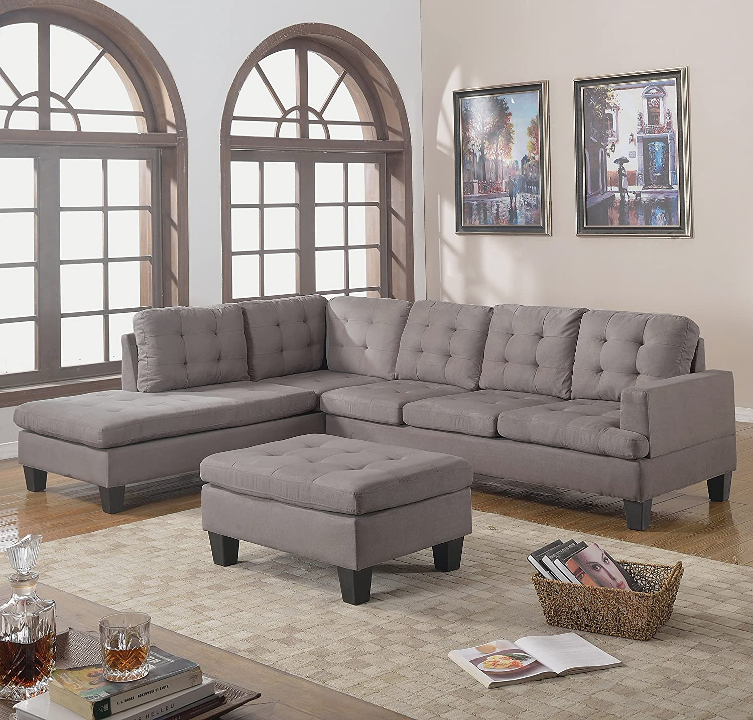 Amazon Divano Roma Furniture 3 Piece Reversible Chaise Sectional Sofa With Ottoman Grey Charcoal Kitchen Dining