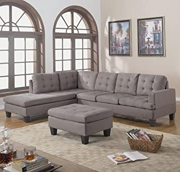 Elegant Divano Roma Furniture 3 Piece Reversible Chaise Sectional Sofa With Ottoman,  Grey Charcoal