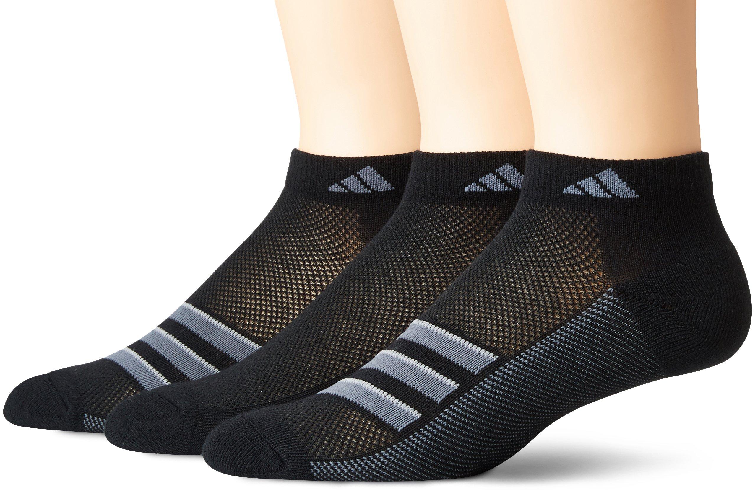adidas Men's Climacool Superlite Low Cut Socks (3-Pack), Black/Onix/Light Onix, Size 12-16