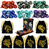 TOYFUL 6 Sets DND Dice Polyhedral Dungeons and Dragons DND RPG MTG Table Game Dice Bulk with Free Six Drawstring Bags…