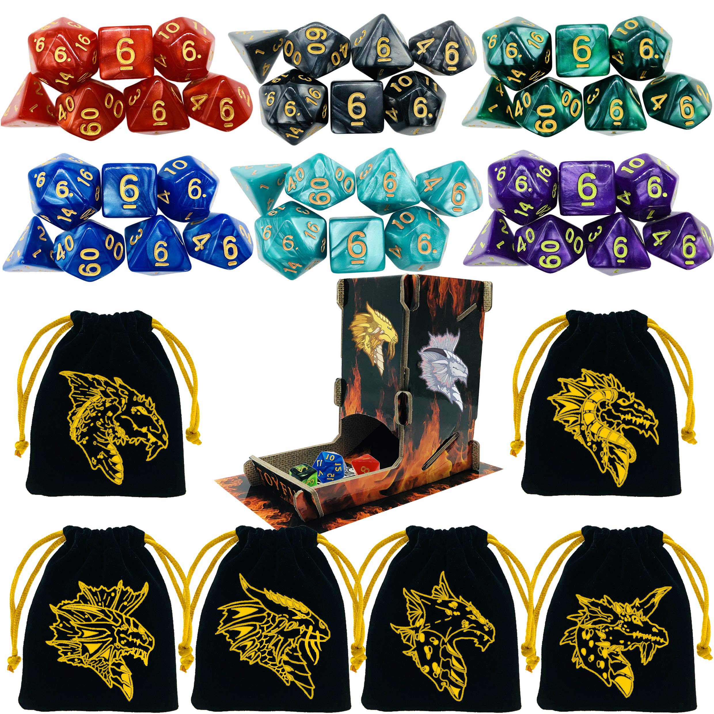 TOYFUL 6 Sets Dnd Dice Polyhedral Dungeons and Dragons DND RPG MTG Table Game Dice Bulk with FREE Six Drawstring Bags and D&D Dice Tower Black by TOYFUL