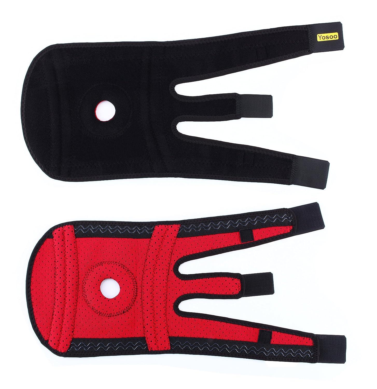 con soportes laterales para la estabilizaci/ón rotuliana rodillera color rojo F/érula para la rodilla de neopreno para ejercicio f/ísico ajustable Basic Support