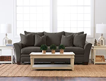 """Klaussner Home Furnishings Paxton Sofa with 4 Throw Pillows, 44""""L x 99""""W x 31""""H, Pewter"""