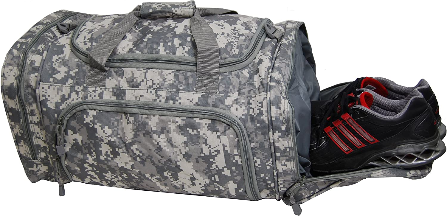 Proximelle ACU Digital Camo Overnight Gym Duffel Bag with Shoe Wet Pocket Large