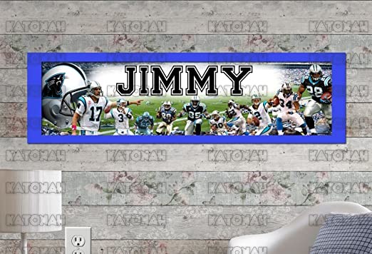 Personalized Customized Carolina Panthers Name Poster Sport Banner with Frame