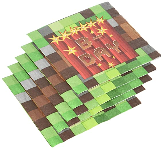 amazon com amscan party small napkins trendy minecraft tnt 16 in a