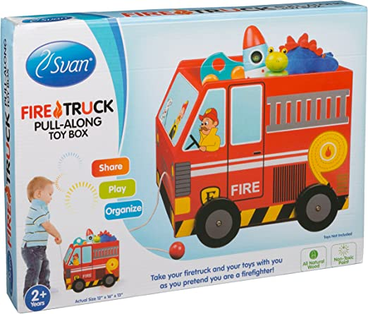 Svan Wooden Pull Along Toy Box Solid Wood Wagon Fire Truck (12X16X13 inches)