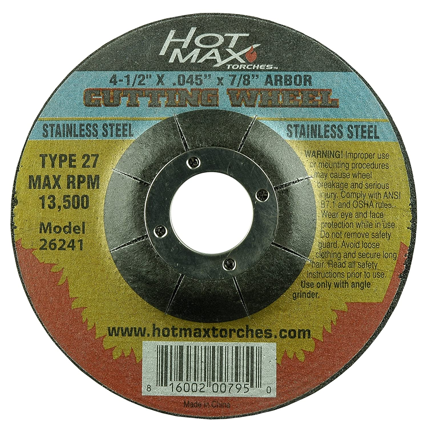 Stainless Steel Hot Max 26241 4-1//2-Inch x .045-Inch x 7//8-Inch Type 27 Metal Cutting Wheel