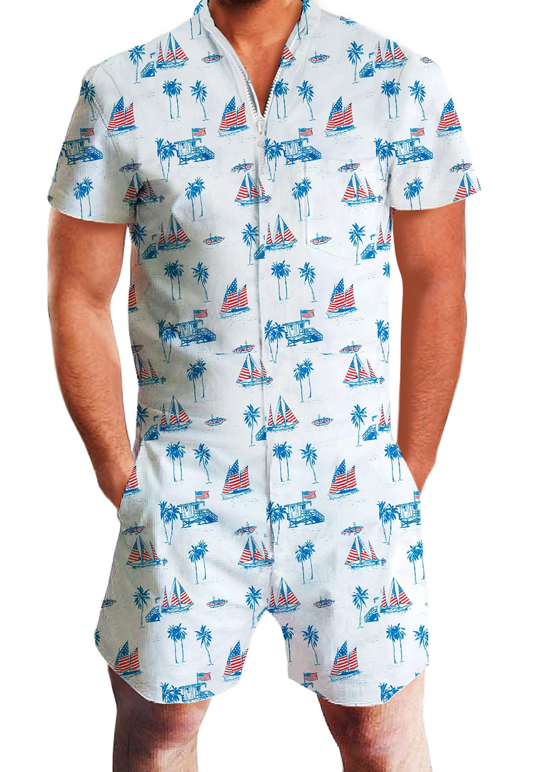3a09553a86b Galleon - Male Romper Original Men s Romper Jumpsuit Costume 3D Graphic  Milk Personalized Short Sleeve Playsuit Overalls One Piece Slim Fit Surfing  XXL