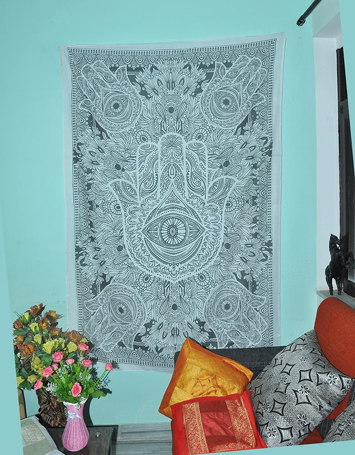 Exclusive Hamsa Hand Tapestry For Goodluck Indian Mandala Wall Art Hippie Wall Hanging Bohemian Bedspread Throw Urban Sketched Hand Tapestry Dorm Decor Bedding