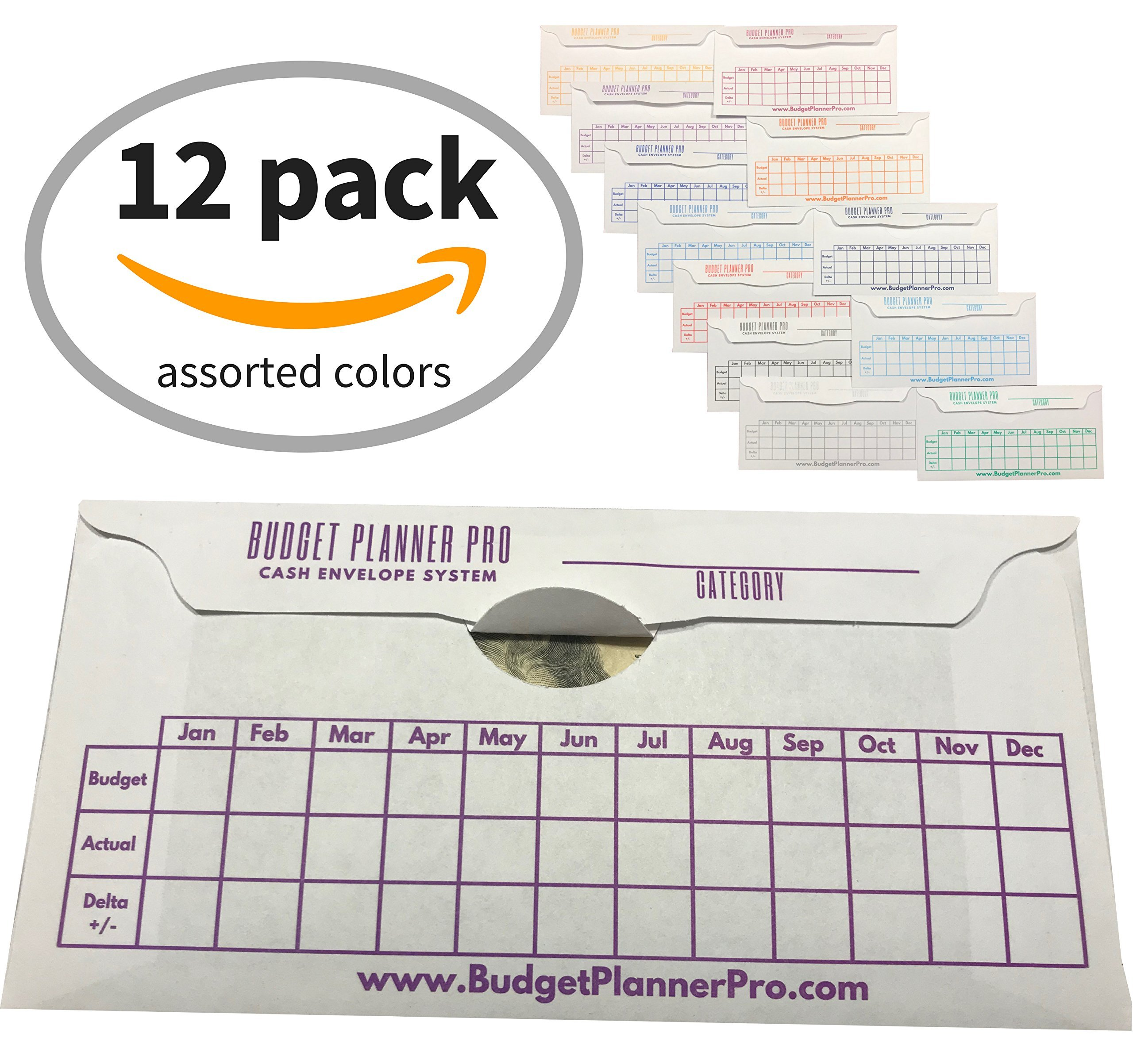 Cash Envelope System Budget Planner Wallet Organizer for Budgeting, Saving Money and Debt Relief, Durable with a Quick and Easy Open and Close Flap (12 Pack Assorted Colors)