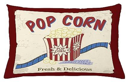 Cine manta almohada Funda de cojín por Ambesonne, fresca y deliciosa Pop Corn película entradas