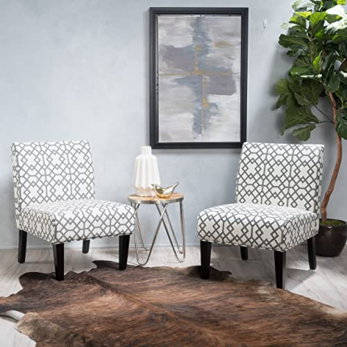 GDF Studio Kendal Contemporary Fabric Slipper Accent Chair Set of 2 , Gray Geometric Pattern and Matte Black