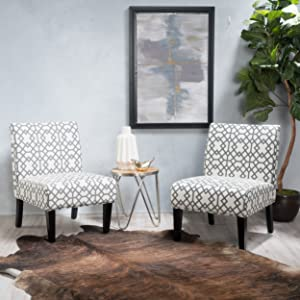 GDF Studio | Kendal | Geometric Patterned Fabric Accent Chair Set of 2 | in Grey