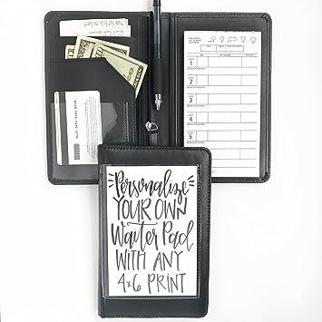 black faux leather waiter or waitress server book organizer wallet