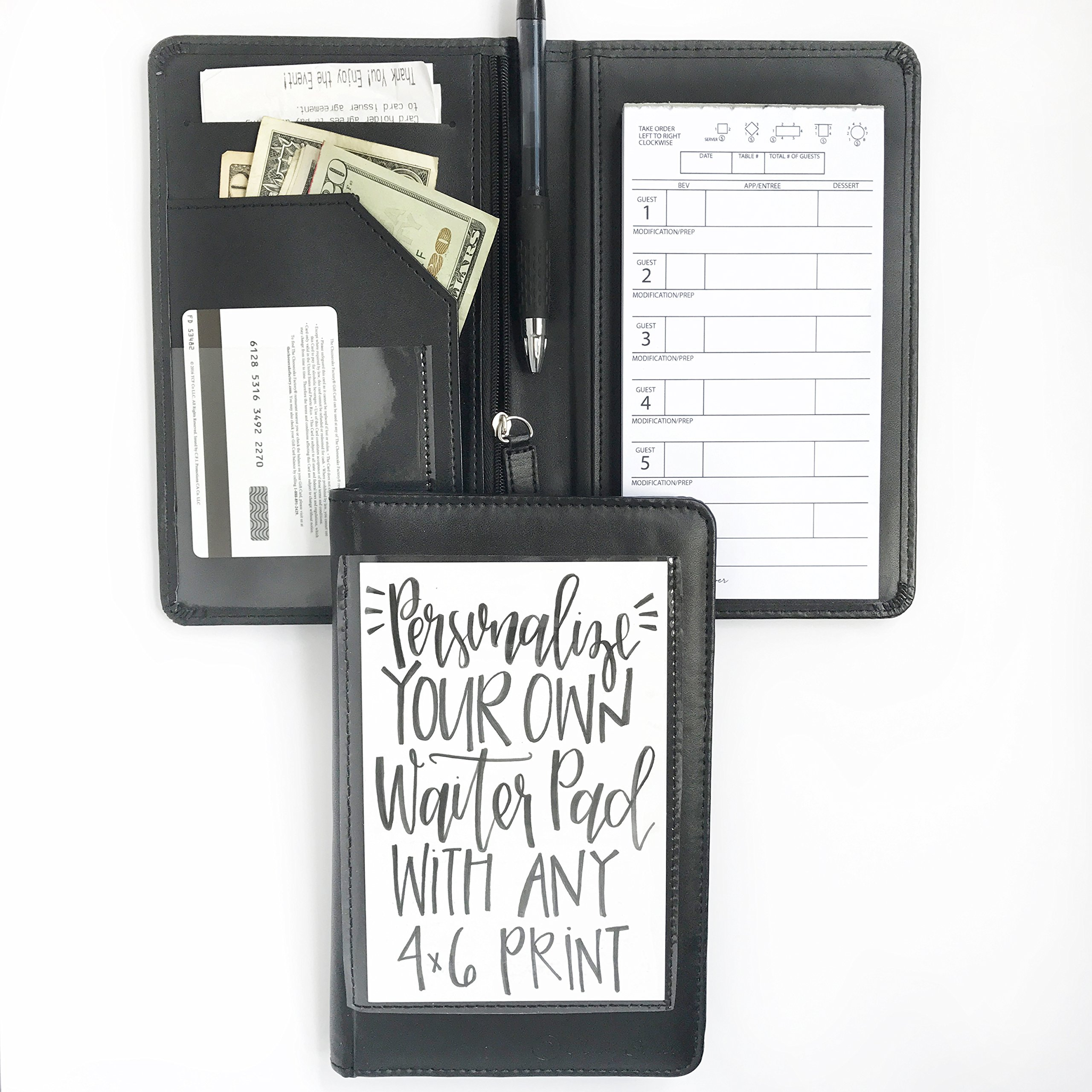 Black Faux Leather Waiter or Waitress Server Book Organizer Wallet, Restaurant Receipt or Money Check Holder Caddy, Easily Fits in Waitstaff Apron Pocket + BONUS Guest Order Note Pad Included
