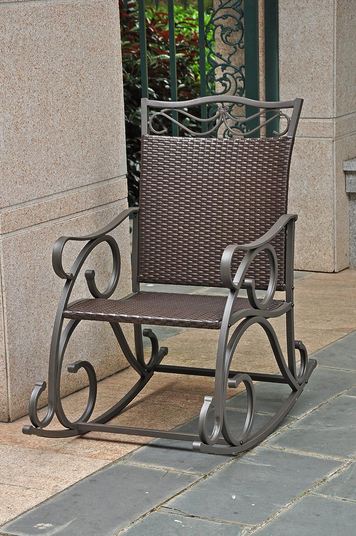 International Caravan 523815 Wicker Resin Steel Porch Rocker Antique Brown