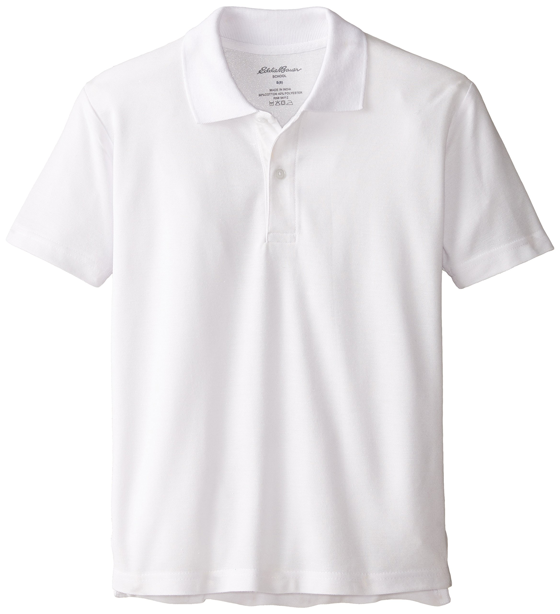 Eddie Bauer Boys' Short Long Sleeve Polo Shirt (More Styles Available), Performance White, 10/12