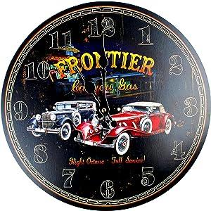 HADAAYA MDF Wood 13 Inches, Black Round Vintage Retro Car Garage Wall Clock for Car Lover Boys Room, Man Cave, Garage Home Decor