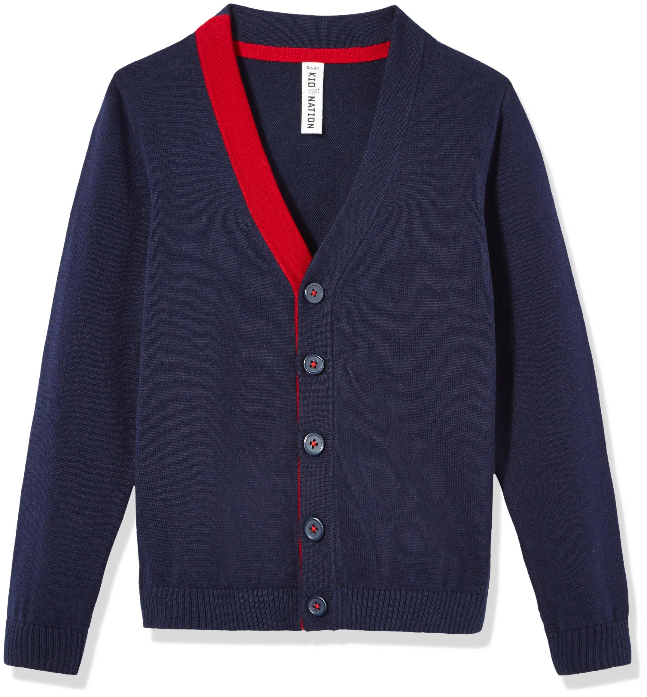 Kid Nation Boys' Long Sleeve Cardigan Sweater M Navy