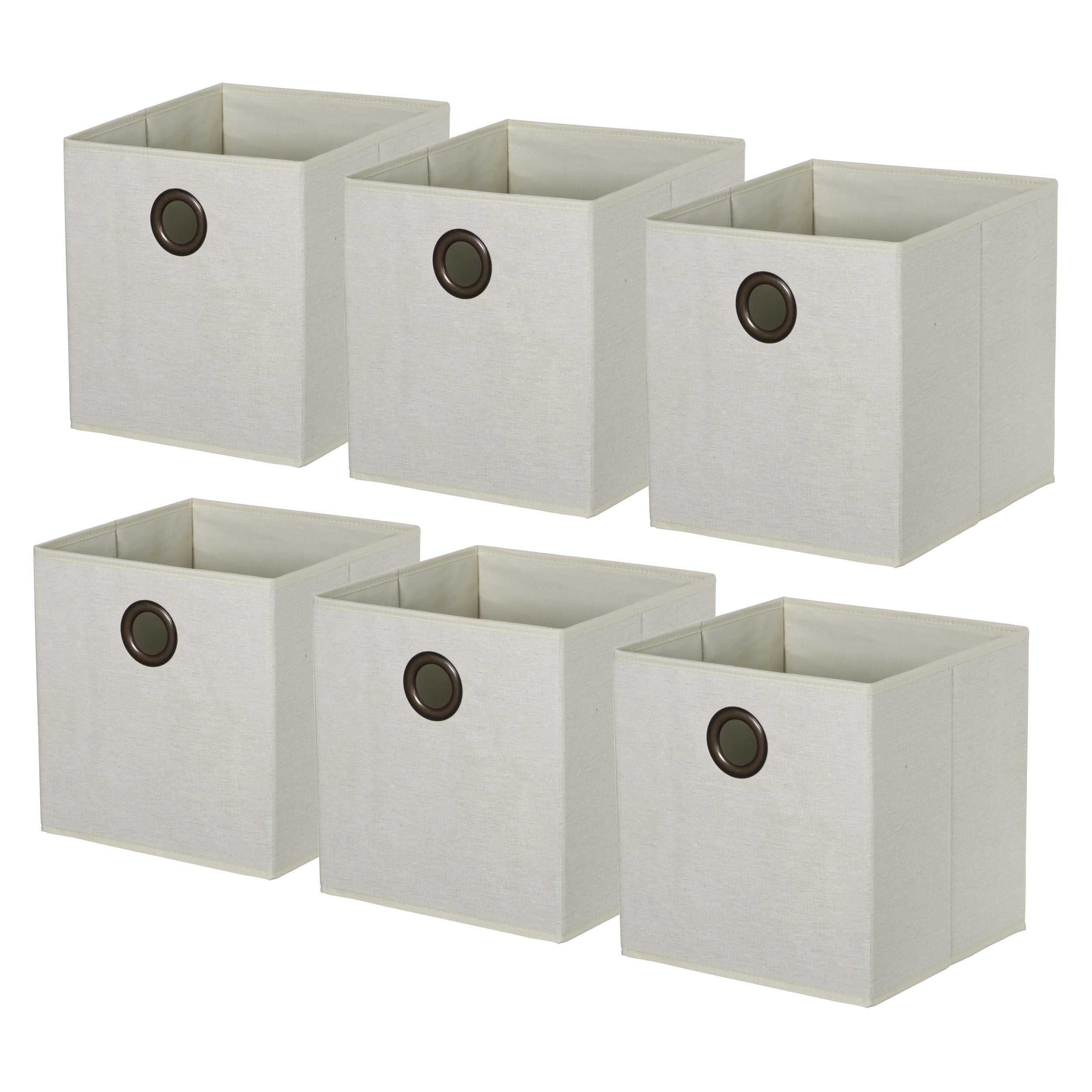HomeCrate Foldable Burlap Canvas, Cloth Storage Cube Basket Bin, Pack of 6 - Natural by HomeCrate (Image #2)