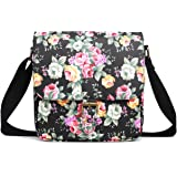 Miss Lulu Floral Flower Matte Oilcloth Structured Square Shoulder Satchel Bag