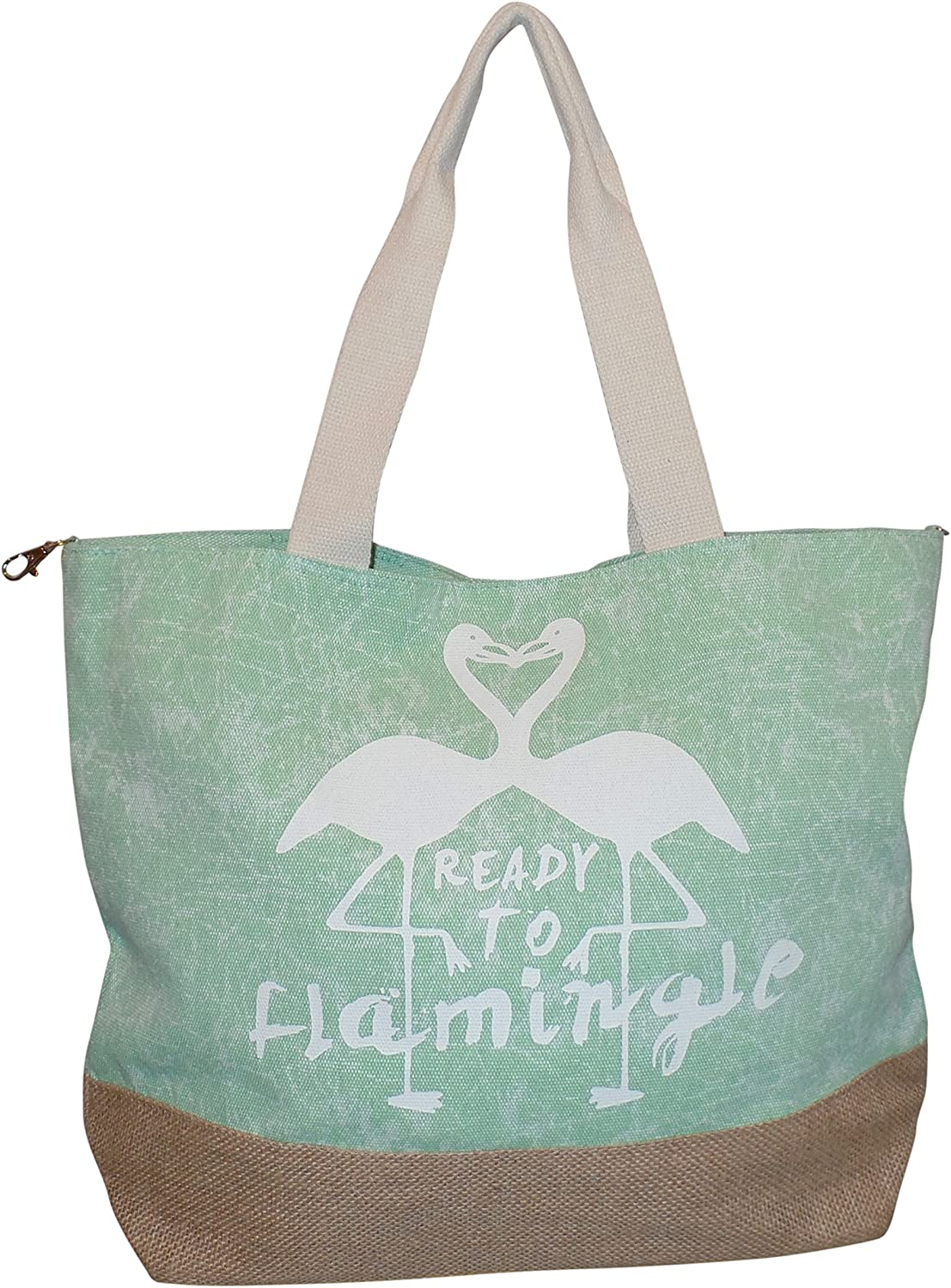 """Canvas green seashell tote bag Zipper 19/"""" Wide 13/"""" Tall 6/"""" Wide Large"""