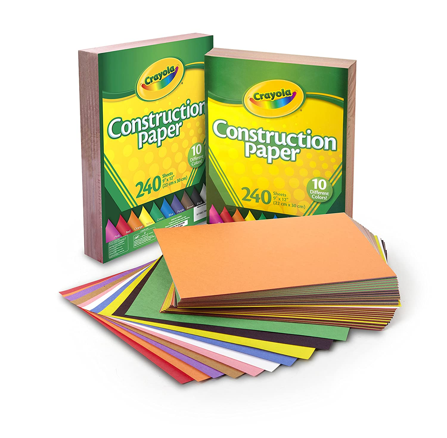 Crayola Construction Paper, 480 Count, 2-Packs of 240 Each, 10, great for Arts & Crafts, Home or School Projects Binney & Smith 99-0013