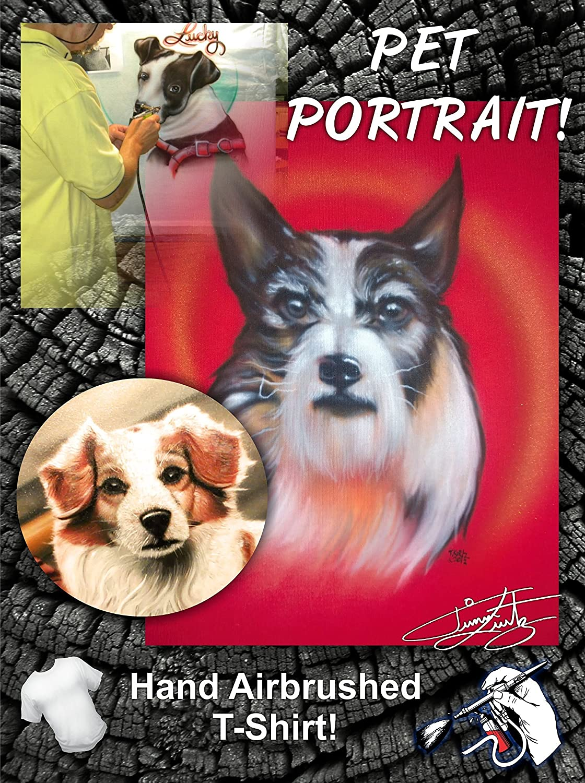 5cc6273bb407e Amazon.com: HAND AIRBRUSHED PET PORTRAIT ON T-SHIRT or SWEAT SHIRT ...