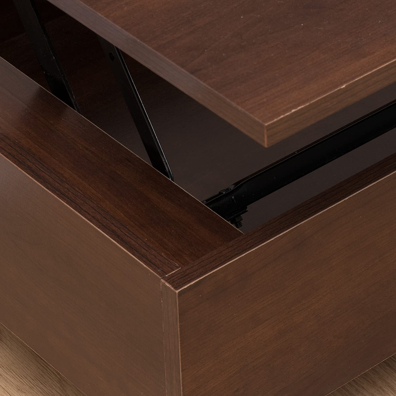 Amazon Caleb Mahogany Wood Lift Top Storage Coffee Table
