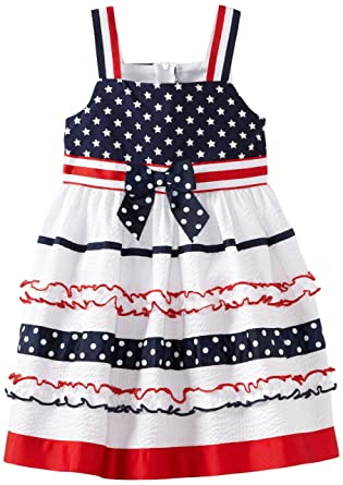 fe47f420f9 Amazon.com  Bonnie Jean Little Girls  White Stars And Ribbon Stripes ...