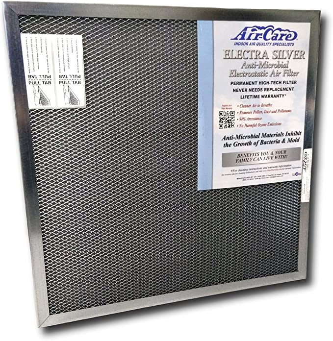 Air-Care 20x25x1 Silver Electrostatic Washable A/C Furnace Air Filter - Limited, Never Buy Another Filter!! - Made In the USA