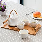 White Ceramic Tea Set with Teapot & 4 Teacups with Ribbed Design and Bamboo Serving Tray