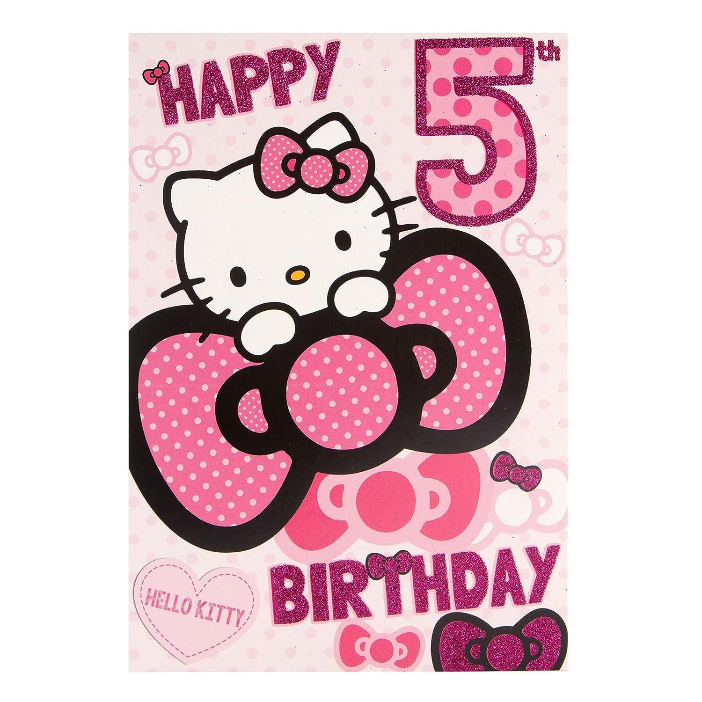 Hello Kitty 5 A partir de cumpleaños con texto en inglés ...
