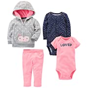 Simple Joys by Carter's Baby Girls 4-Piece Little Jacket Set, Grey/Pink Owl, 3-6 Months