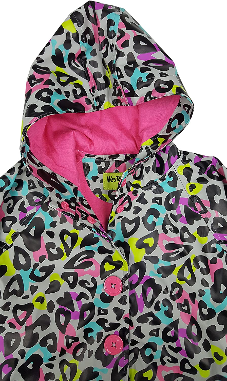 Western Chief Apparel Kids Little Girl Soft Lined Character Rain Jackets 5 Groovy Leopard
