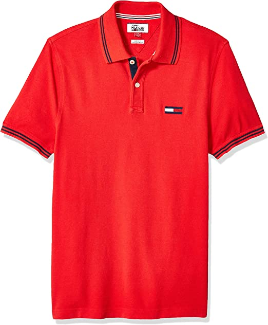 TOMMY HILFIGER Men/'s Denim Collar Custom Fit POLO SHIRTS NEW LARGE navy or white