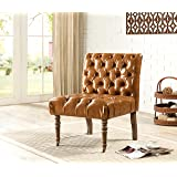 Iconic Home Hendrix Camel Brown Leather Armless Accent Chair with Solid Oak Castered Front Legs, Oversized