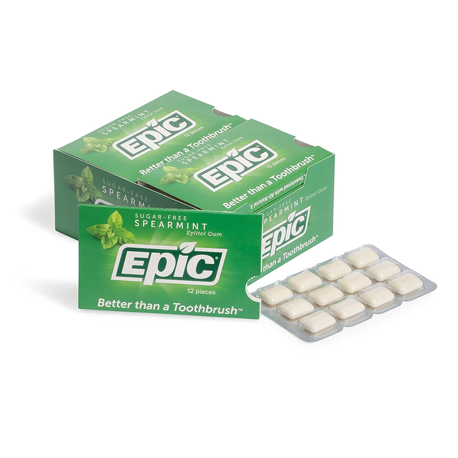 Epic Dental 100% Xylitol Sweetened Gum, Spearmint, 12 Count ( Pack of 12) Nature's Best GUMSP144