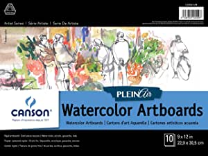 Canson Plein Air Watercolor Art Board Pad for Watercolor, Ink, Gouache and Acrylic, 9 x 12 Inch, Set of 10 Boards
