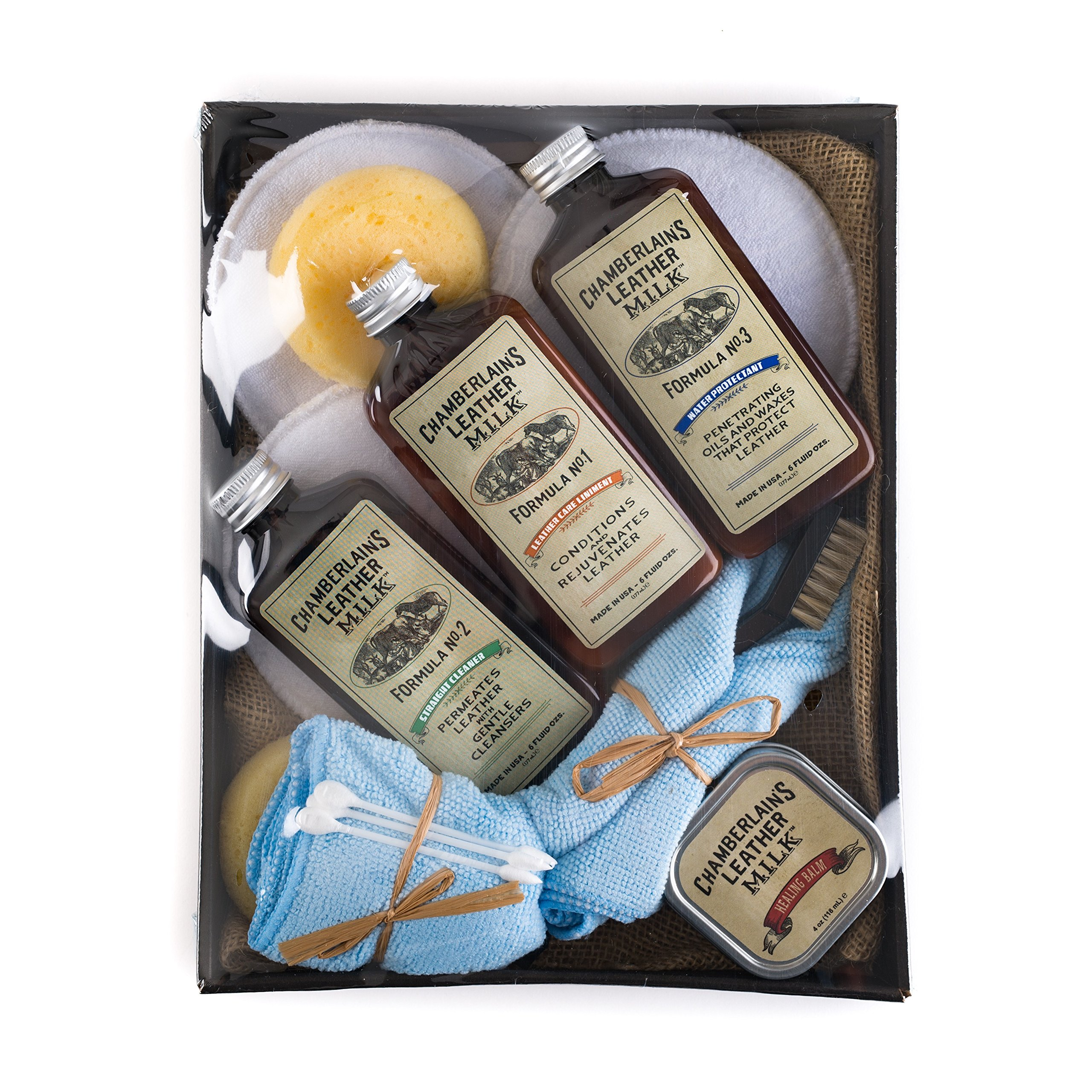 Leather Milk Leather Restoration Kit - Heal & Restore Antique Leather. Cleaner, Conditioner, Water Protectant, Healing Balm, Detailing Brushes, Pads, More! All-Natural. Made in USA by Chamberlain's Leather Milk (Image #5)