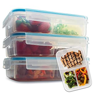Komax Biokips Meal Prep Containers 3 Compartment | Set-of-3 Bento Box Containers for Adults & Kids | Portion Control Containers | BPA-Free Food Prep Containers (37-oz) | Microwave Safe Bento Lunch Box